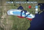 Una mezcla peligrosa para hoy lunes de Nieve y agua llego al Estado Jardin